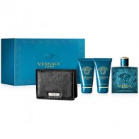 Eros Eau de Toilette 100ml + Shower Gel 50ml + After Shave Balsam 50ml + Black Wallet
